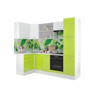 Кухня Люкс  белый/лайм глянец 2,5 метра
