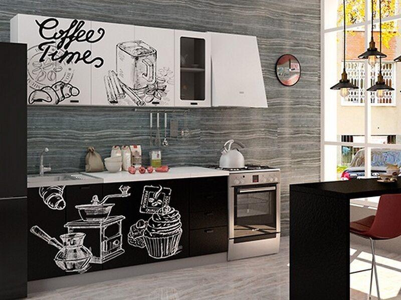 Кухня София 1,8 м (Coffee Time белый/Coffee Time черный)