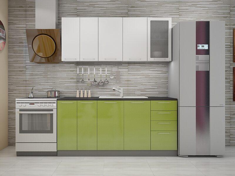 Кухня София 1,8 м (Белый металлик/Зеленый металлик)