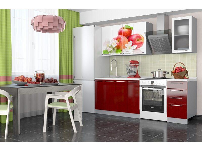 Кухня София 1,6 м (красное яблоко)