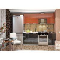 Кухня София 2.1 м (оранжево - черная)