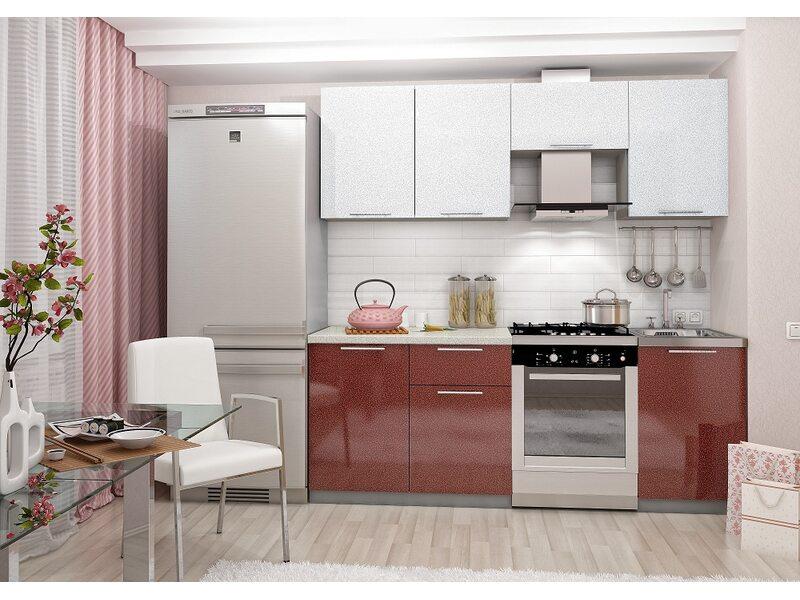 Кухня София 2.1 м (гранатово-белая)