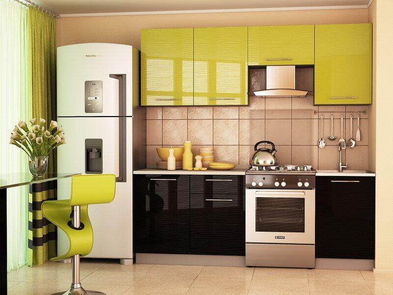 Кухня София 2.1 м (черно - зеленая)