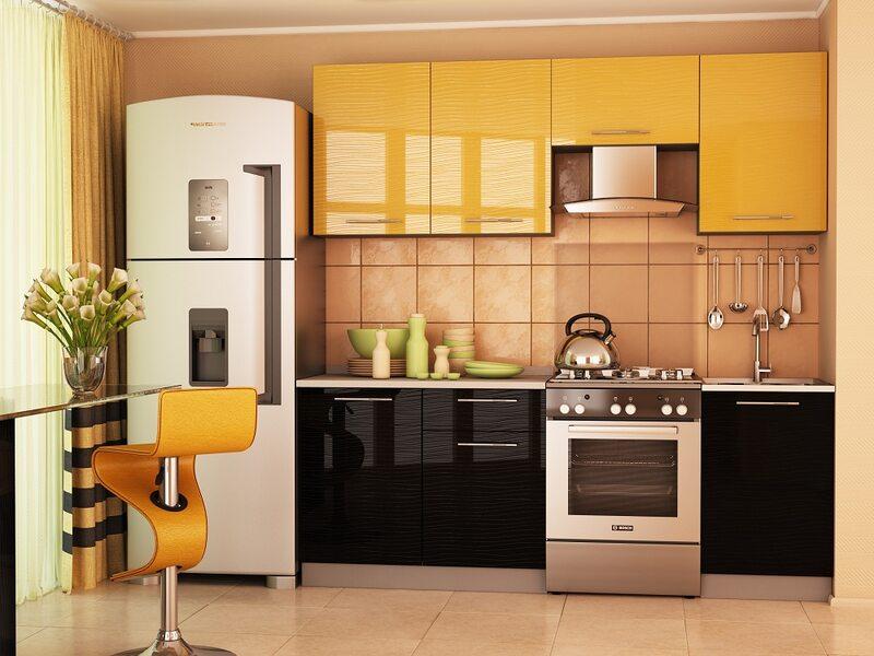 Кухня София 2.1 м (черно - желтая)