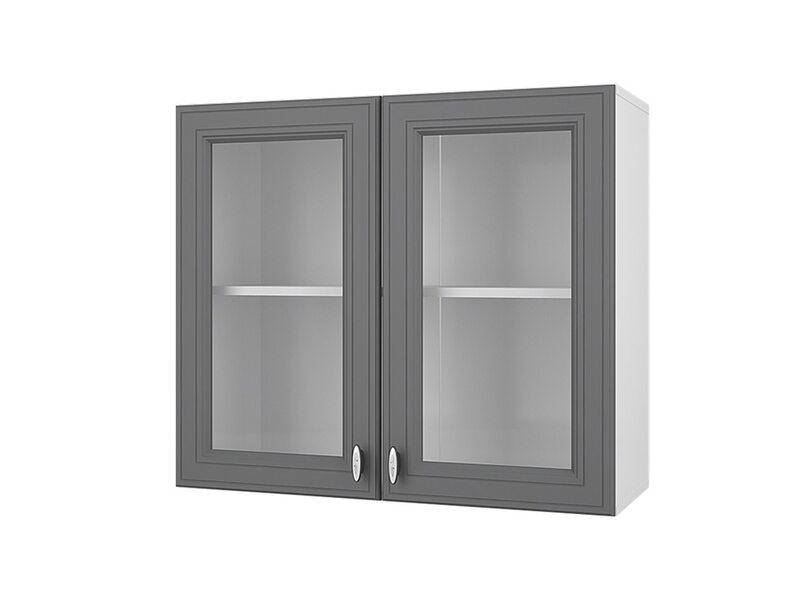 Шкаф двухдверный со стеклом кухня Ева ширина 800 мм высота 700 мм