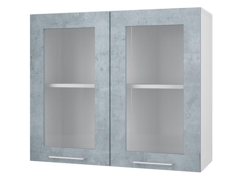 Шкаф двухдверный со стеклом кухня Лофт ширина 800 мм высота 700 мм