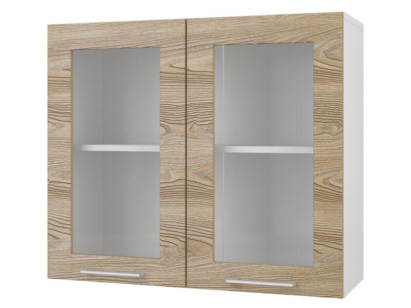 Шкаф двухдверный со стеклом кухня Полонез ширина 800 мм высота 700 мм