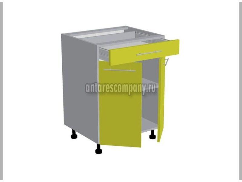Стол двухдверный 1 ящик кухня Базис Вудколор ширина 600 мм высота 820 мм Модуль №96