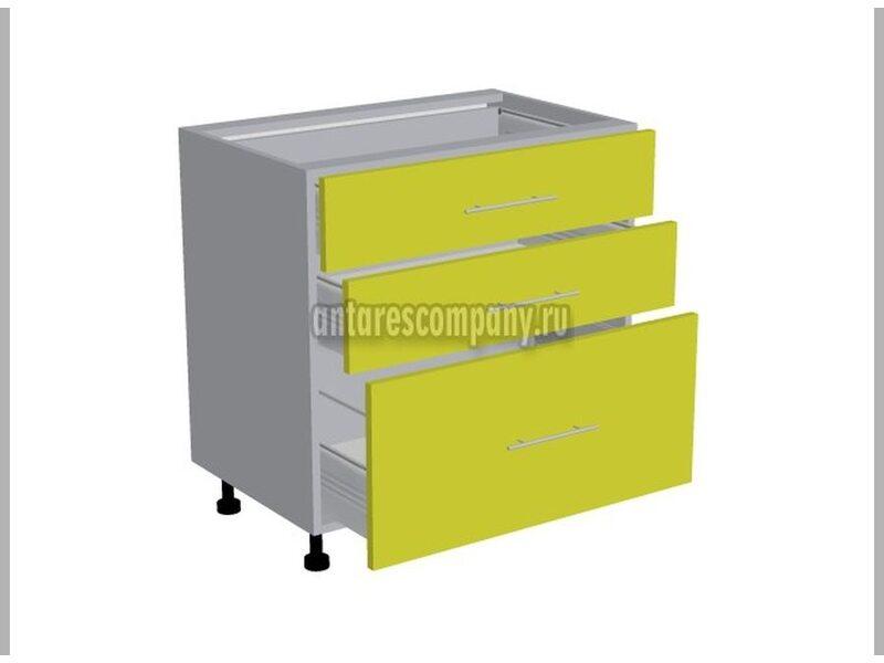 Стол 3 ящика кухня Базис ширина 800 мм высота 820 мм Модуль №110