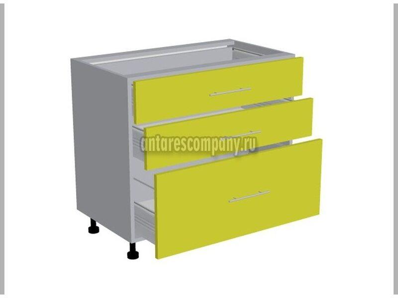 Стол 3 ящика кухня Базис Вудколор ширина 900 мм высота 820 мм Модуль №111