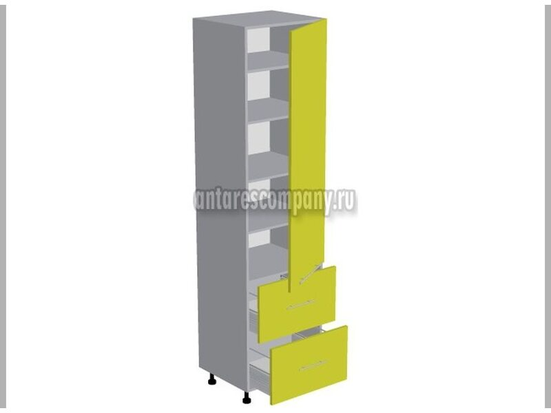 Пенал 2 ящика кухня Базис Linewood ширина 600 мм высота 2380 мм Модуль №138
