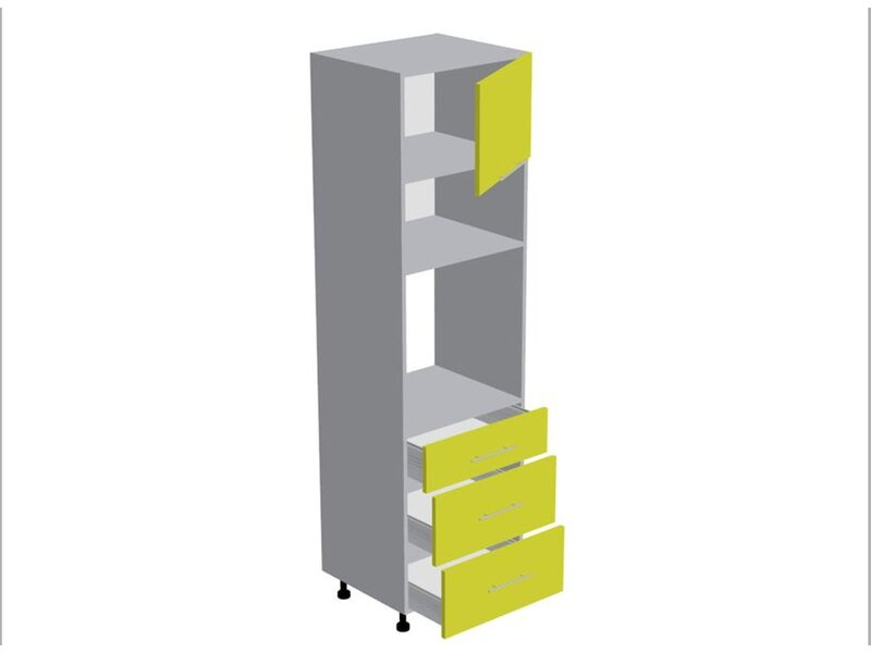 Колонна под духовой шкаф и микроволновку 3 ящика кухня Базис Nicole-Mix ширина 600 мм высота 2140 мм Модуль №167