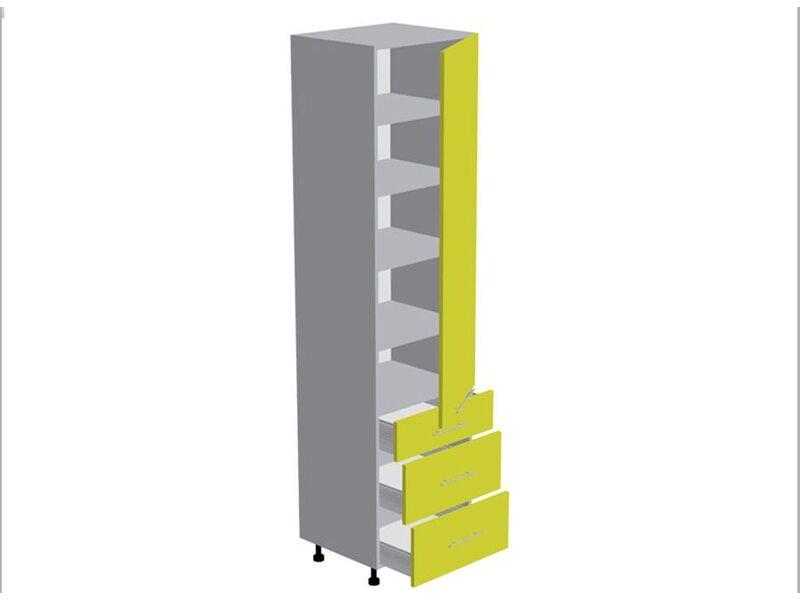 Пенал 3 ящика кухня Базис Nicole-Mix ширина 600 мм высота 2280 мм Модуль №186