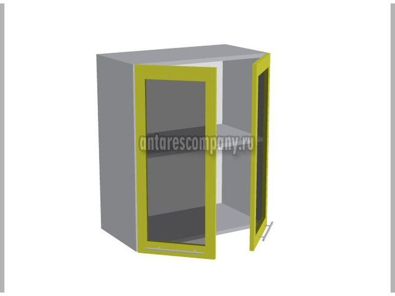 Шкаф двухдверный со стеклом кухня Базис ширина 600 мм высота 720 мм Модуль №17