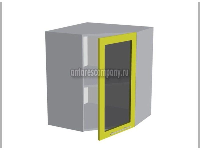 Шкаф угловой со стеклом кухня Базис Вудколор ширина 600 мм высота 720 мм Модуль №22
