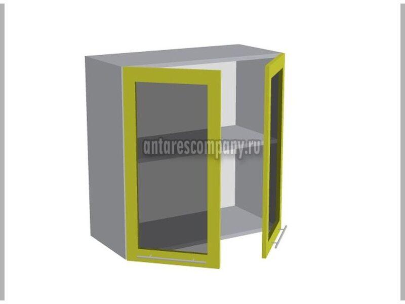 Шкаф двухдверный со стеклом кухня Базис Nicole-Mix ширина 700 мм высота 720 мм Модуль №18