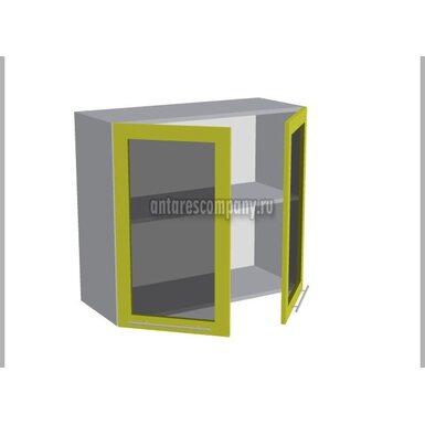 Шкаф двухдверный со стеклом кухня Базис Linewood ширина 800 мм высота 720 мм Модуль №19