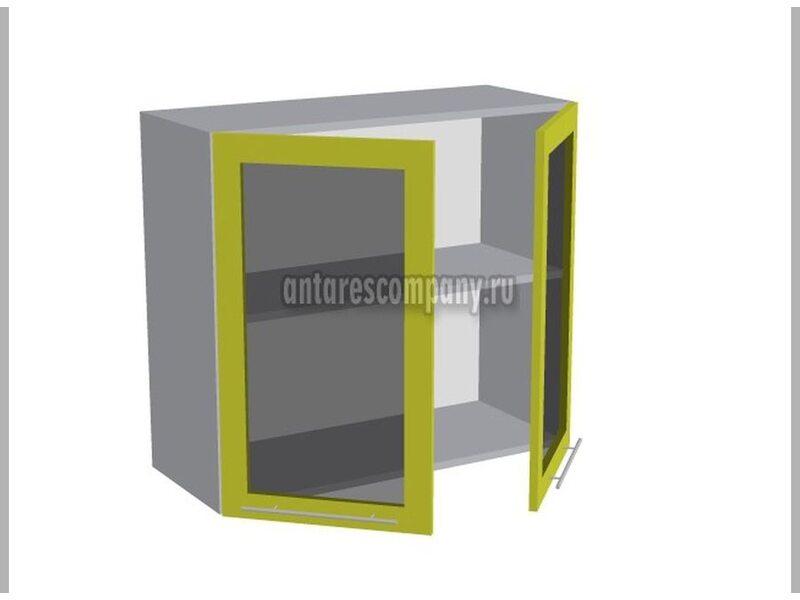Шкаф двухдверный со стеклом кухня Базис ширина 800 мм высота 720 мм Модуль №19