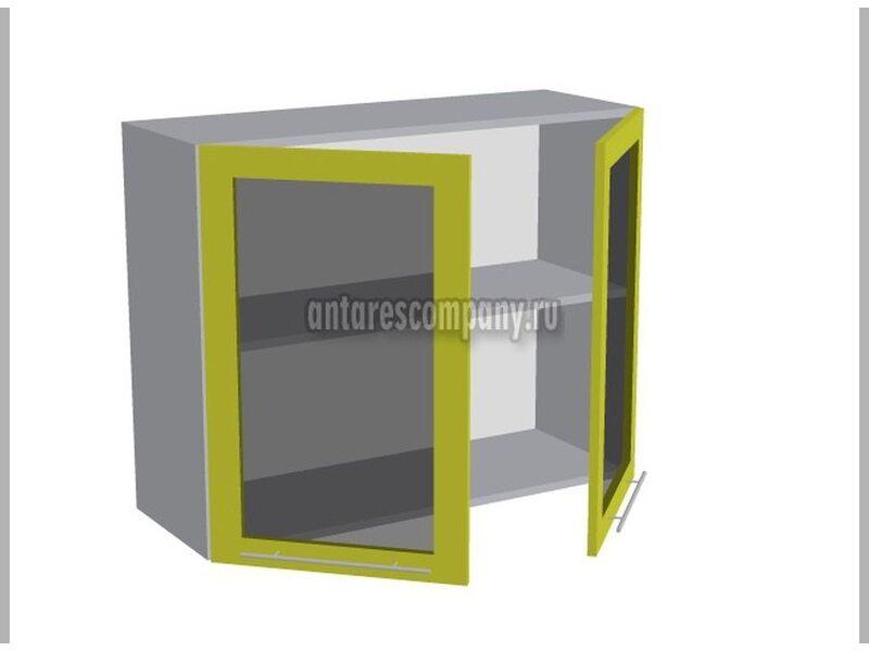 Шкаф двухдверный со стеклом кухня Мишель ширина 900 мм высота 720 мм Модуль №20