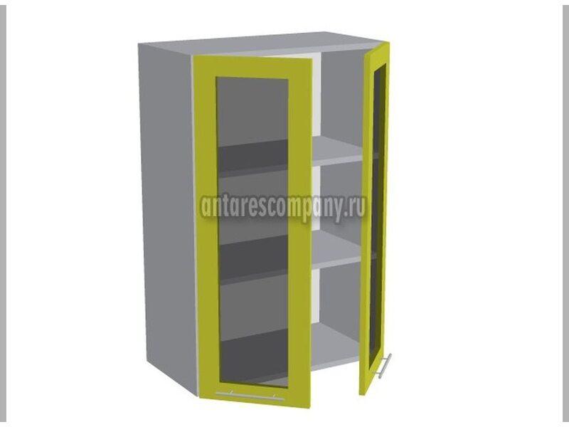 Шкаф двухдверный со стеклом кухня Базис Вудлайн ширина 600 мм высота 960 мм Модуль №44