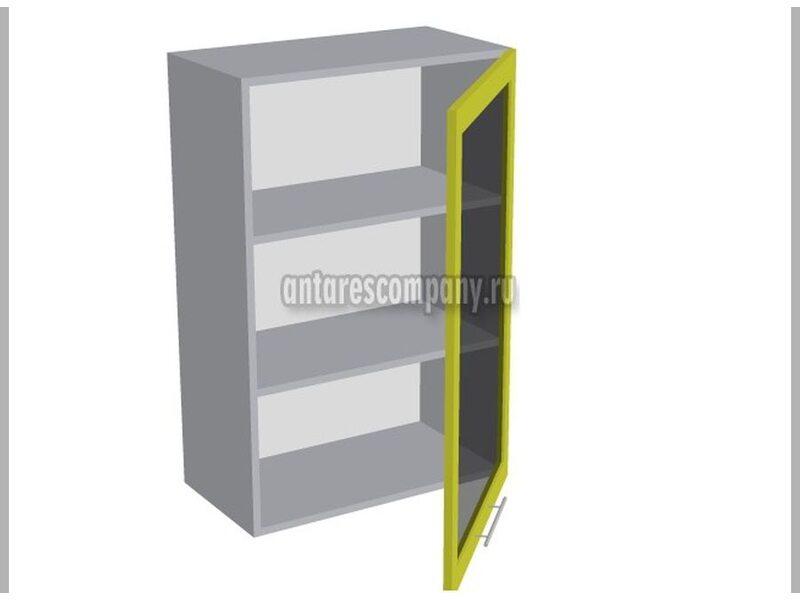 Шкаф однодверный со стеклом кухня Базис Вудлайн ширина 600 мм высота 960 мм Модуль №39
