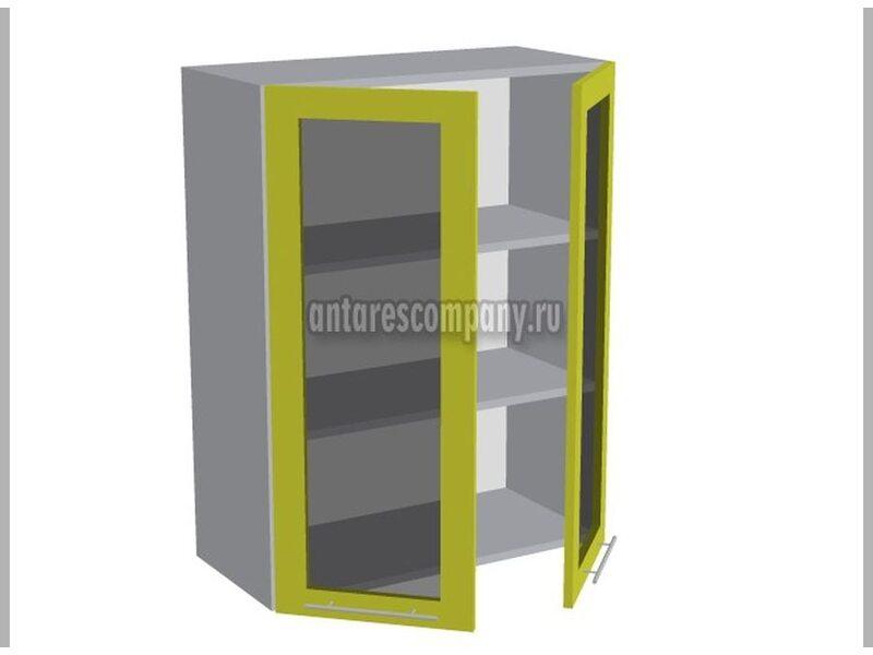 Шкаф двухдверный со стеклом кухня Базис Linewood ширина 700 мм высота 960 мм Модуль №45