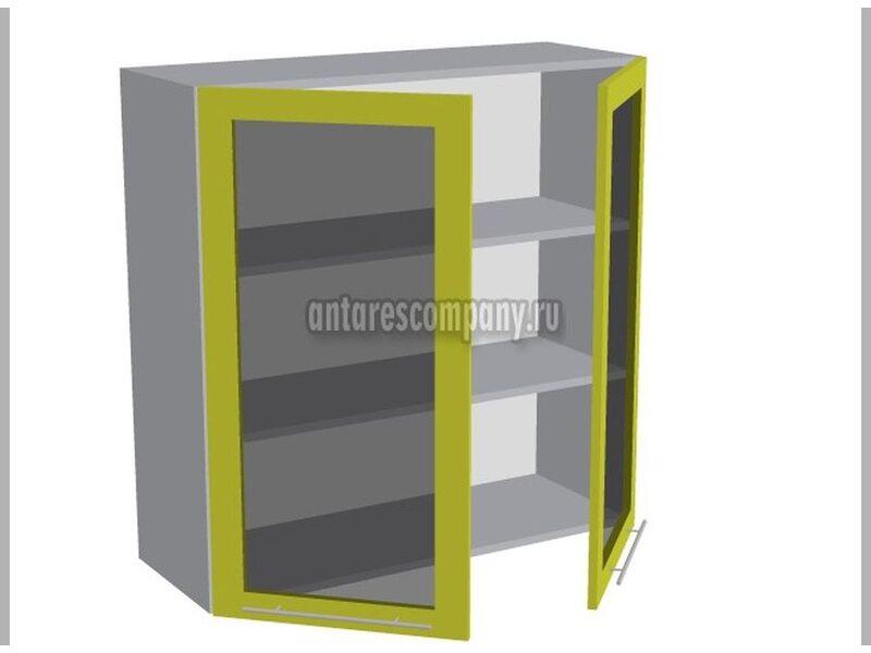 Шкаф двухдверный со стеклом кухня Базис ширина 900 мм высота 960 мм Модуль №47