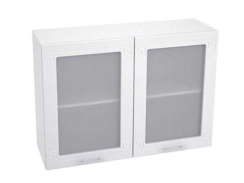 Шкаф двухдверный со стеклом кухня Греция ширина 1000 мм высота 720 мм Модуль №63